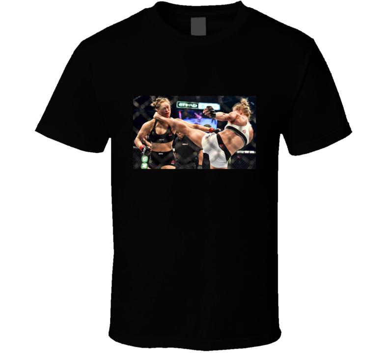 Holly Holm V Ronda Rousey Fight Kick Mixed Martial Arts T Shirt