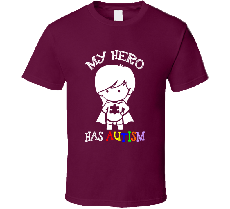 My Hero Has Autism Cute Girls Superhero Autism Awareness Cause Puzzle T Shirt