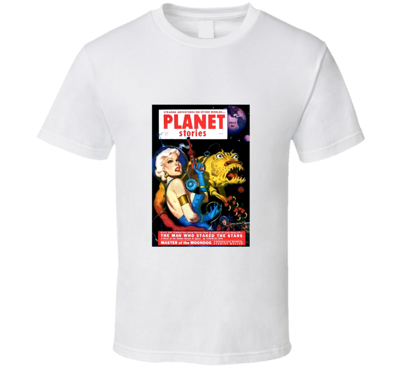Planet Stories Vintage Comic Book Artwork Retro T Shirt