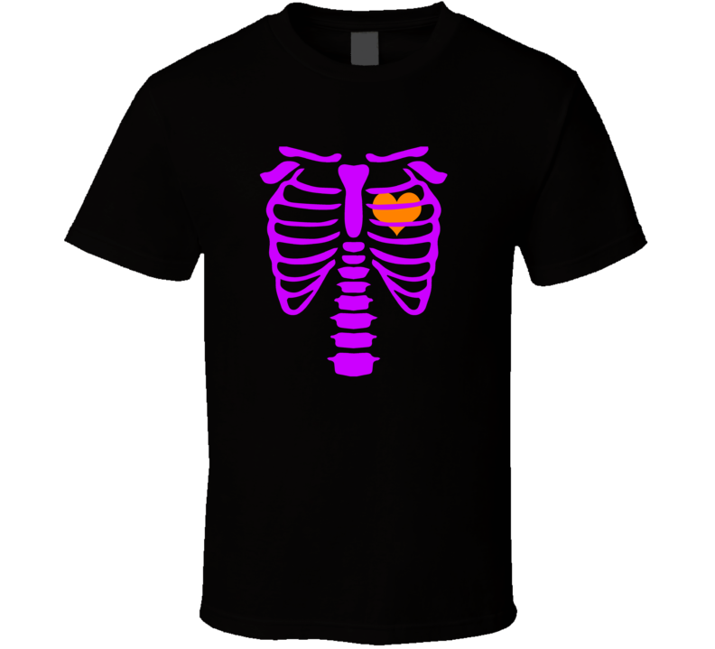 Skeleton and Beating Heart Halloween Spooky Costume T Shirt