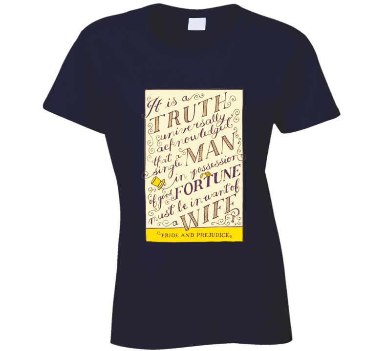 Pride and Prejudice Jane Austen Vintage Book Cover  T Shirt