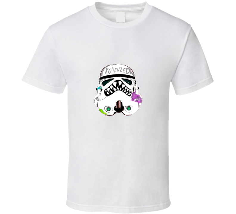 Konfused Storm Trooper Head Starwars Cool Graphic T Shirt