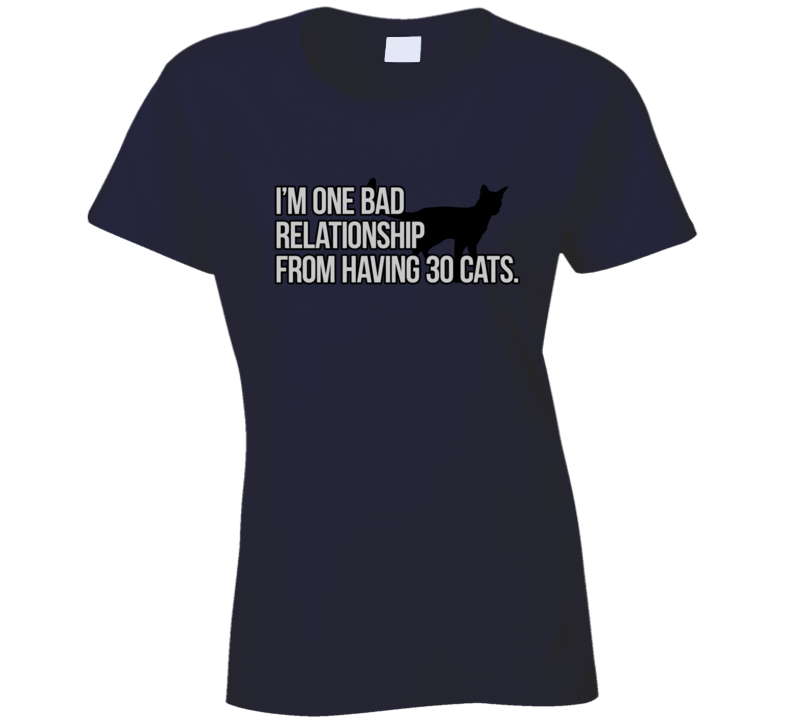 I'm One Bad Relationship From Having 30 Cats Funny Cat Lover Trendy Classic T Shirt