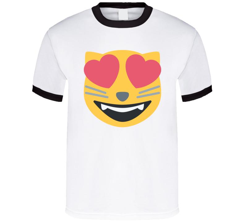 Cat Heart Eyes Emoji Logo Funny Retro Gift T Shirt