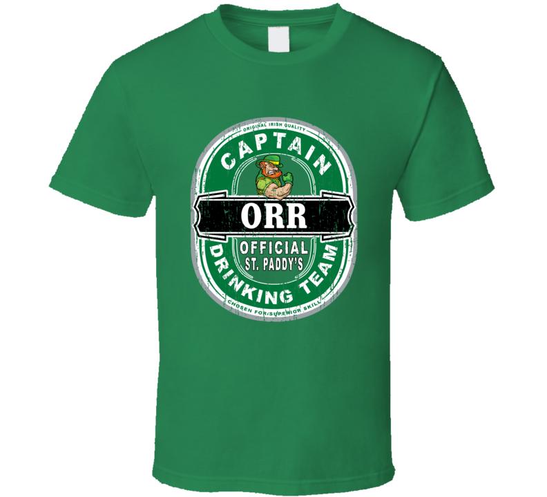 Orr Captain Official Drinking Team St Patricks T Shirt