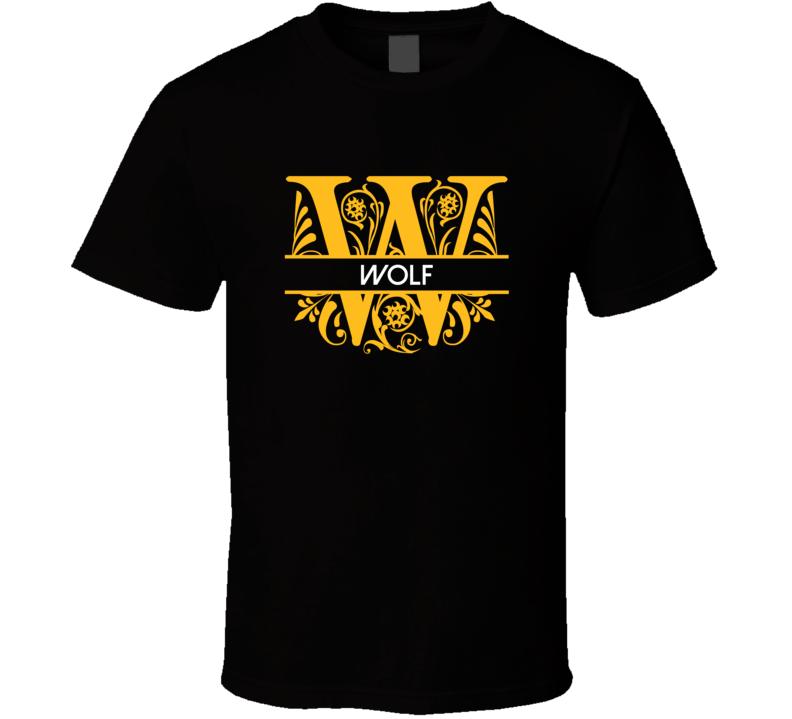 Wolf Family Surname Monogram T Shirt