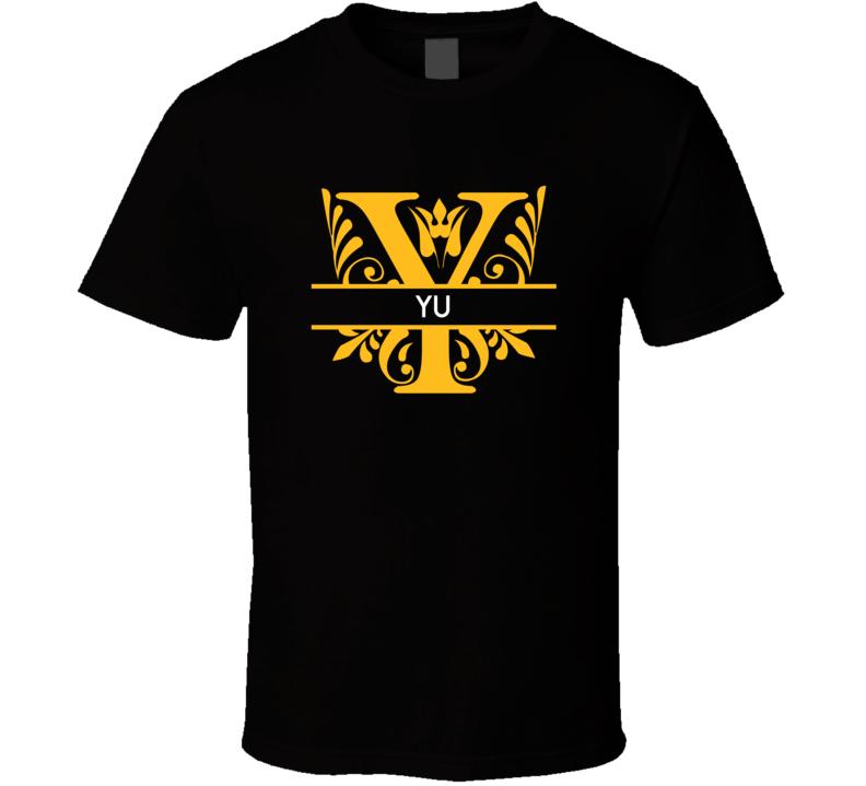 Yu Family Surname Monogram T Shirt
