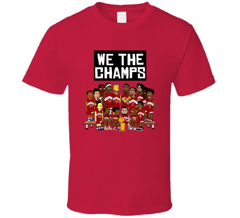 We The Champs Toronto Basketball Cartoon Characters Fan T Shirt