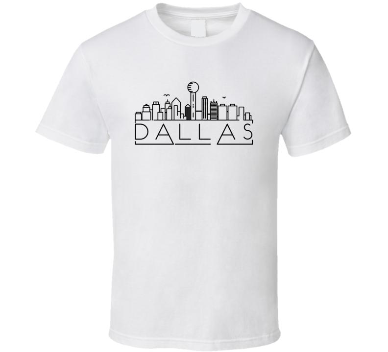 Dallas Skyline Line Art Home Town Pride T Shirt