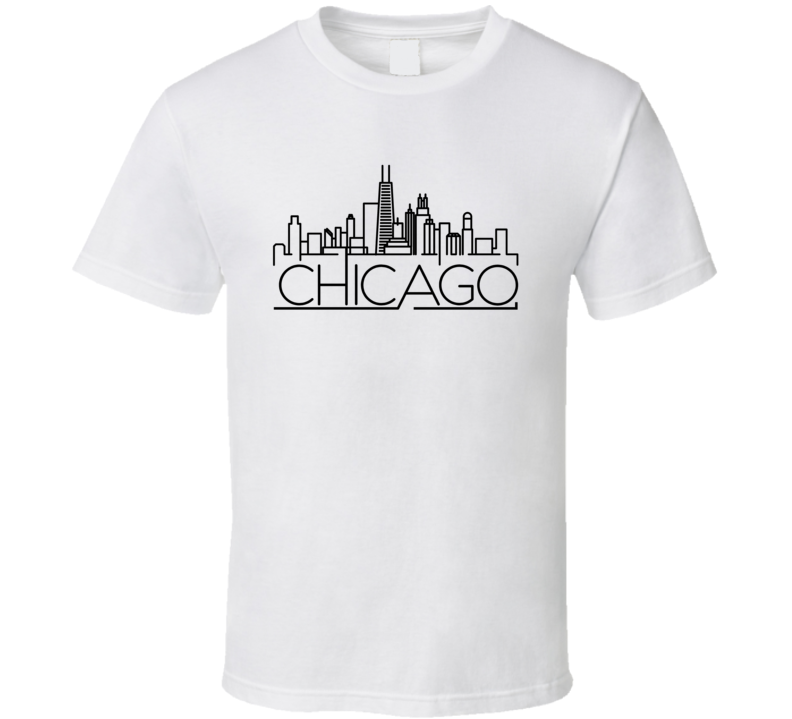 Chicago Skyline Line Art Home Town Pride T Shirt