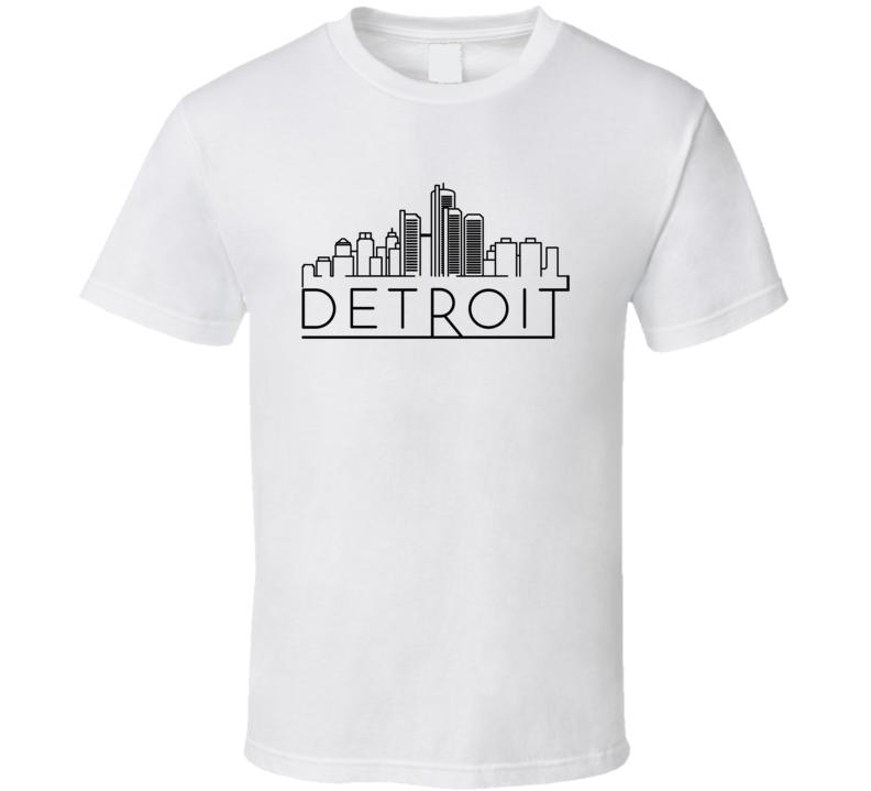 Detroit Skyline Line Art Home Town Pride T Shirt