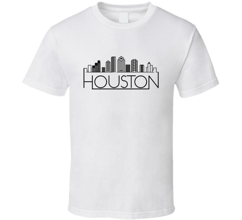 Houston Skyline Line Art Home Town Pride T Shirt