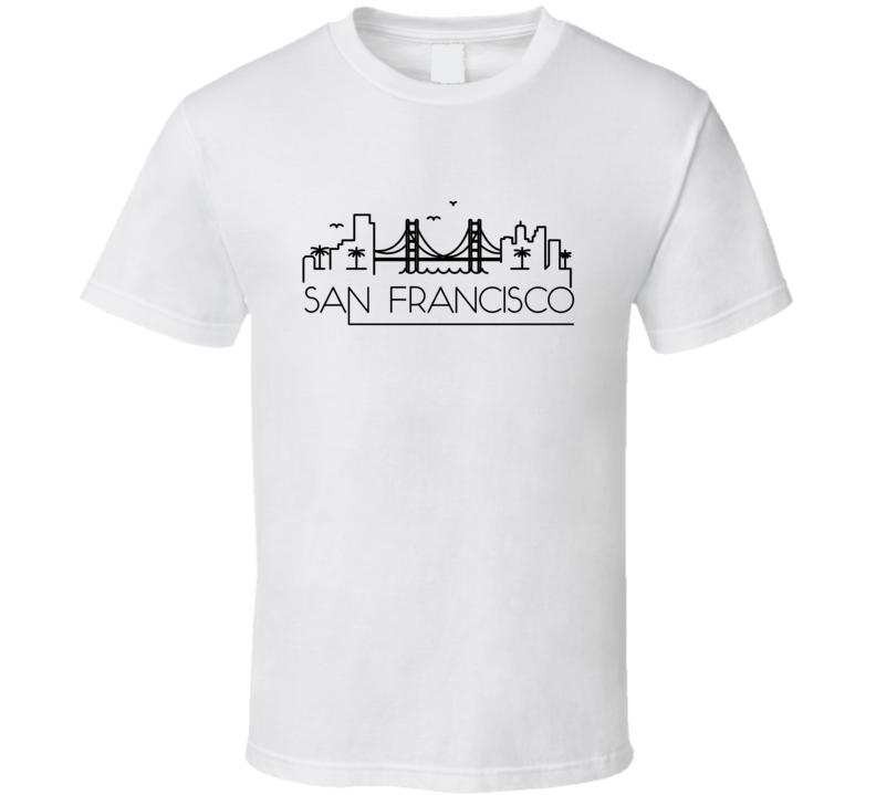 San Francisco Skyline Line Art Home Town Pride T Shirt