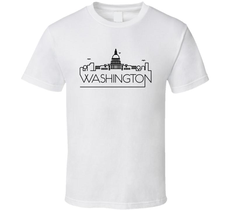 Washington Skyline Line Art Home Town Pride T Shirt