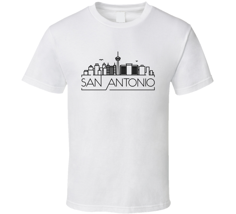 San Antonio Skyline Line Art Home Town Pride T Shirt