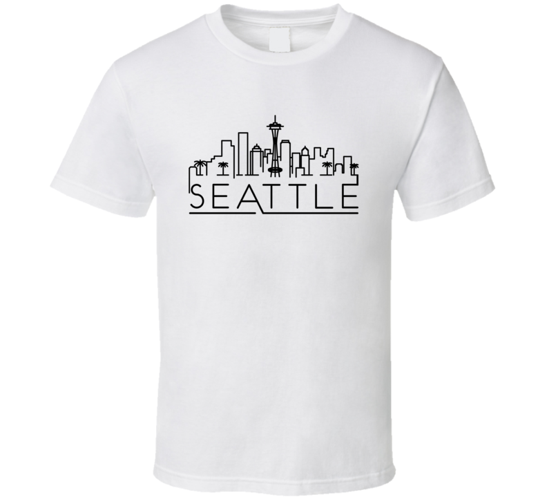 Seattle Skyline Line Art Home Town Pride T Shirt