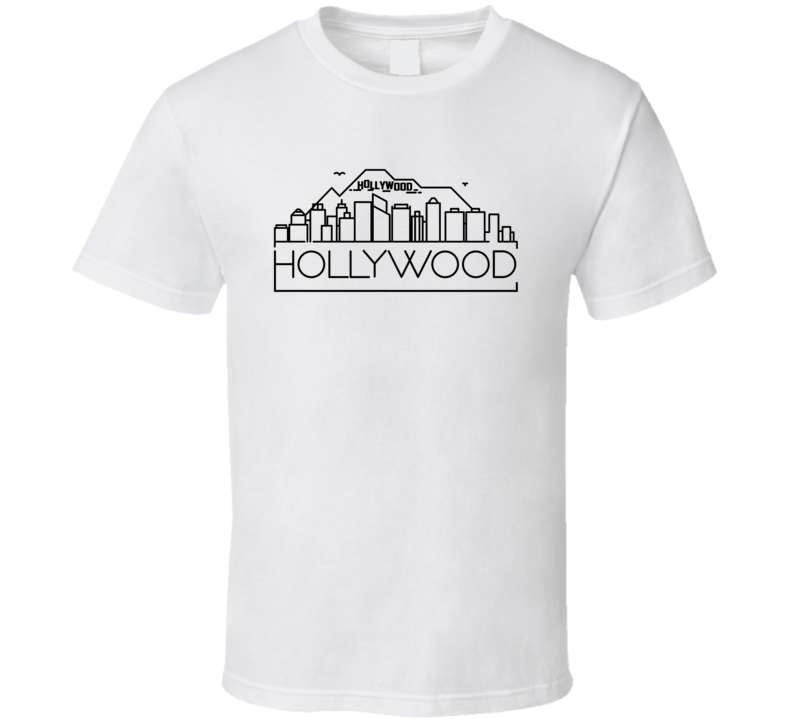 Hollywood Skyline Line Art Home Town Pride T Shirt
