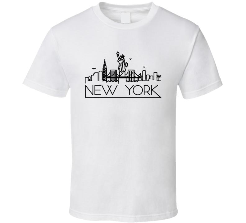New York Skyline Line Art Home Town Pride T Shirt