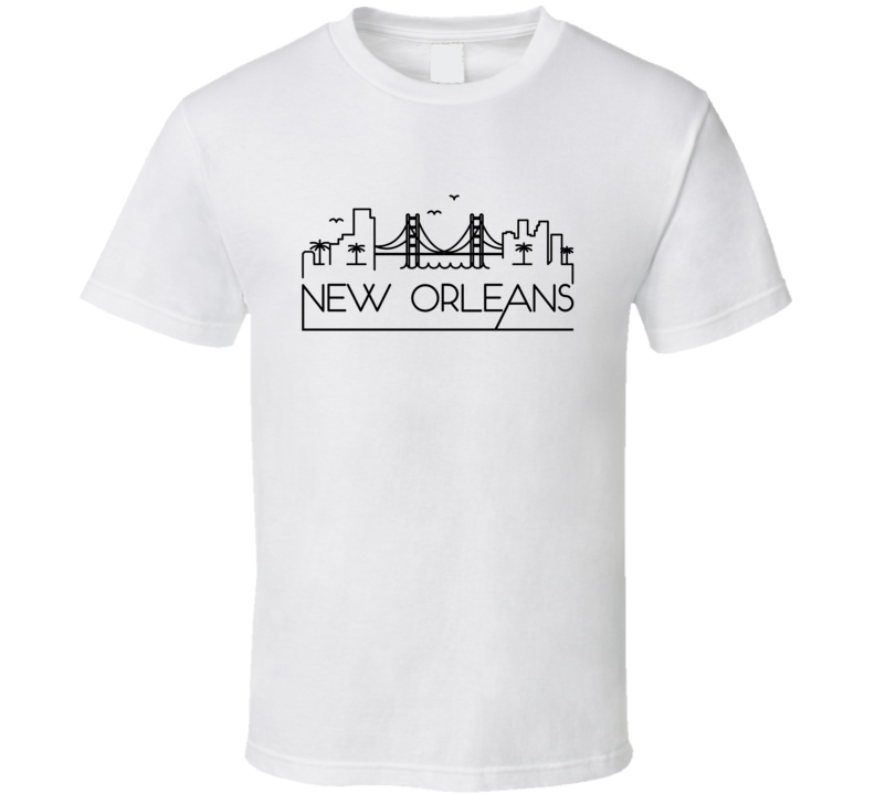 New Orleans Skyline Line Art Home Town Pride T Shirt