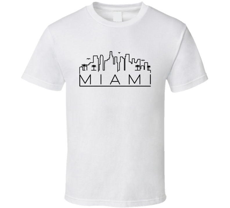 Miami Skyline Line Art Home Town Pride T Shirt