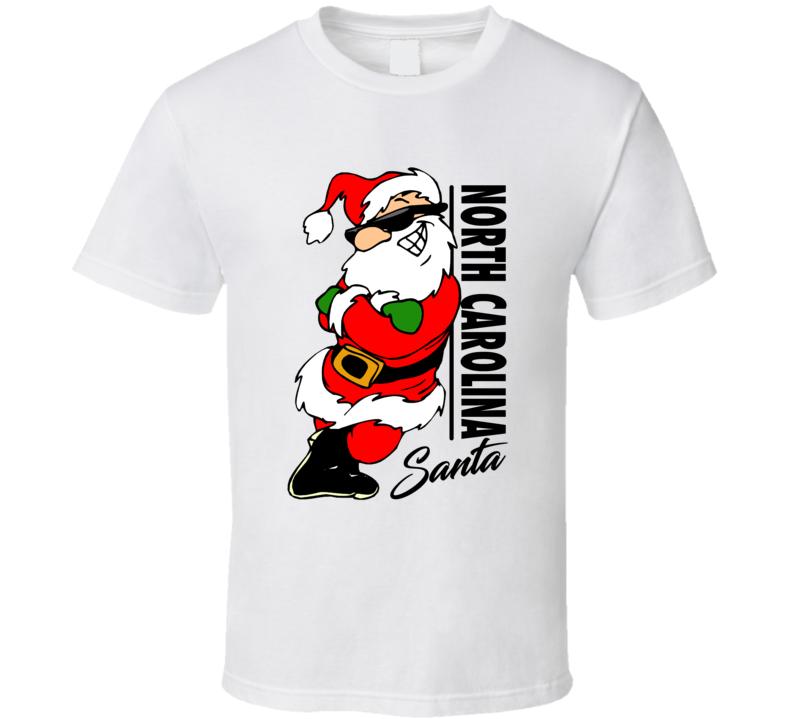 North Carolina Santa Cool Sunglass Wearing Santa Christmas T Shirt