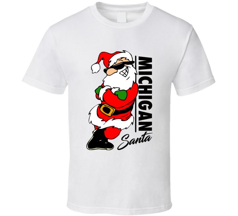 Michigan Santa Cool Sunglass Wearing Santa Christmas T Shirt