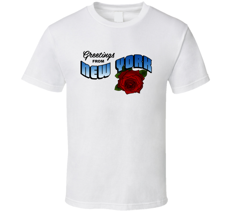 New York Greetings From New York Large Letter Postcard State Flower T Shirt