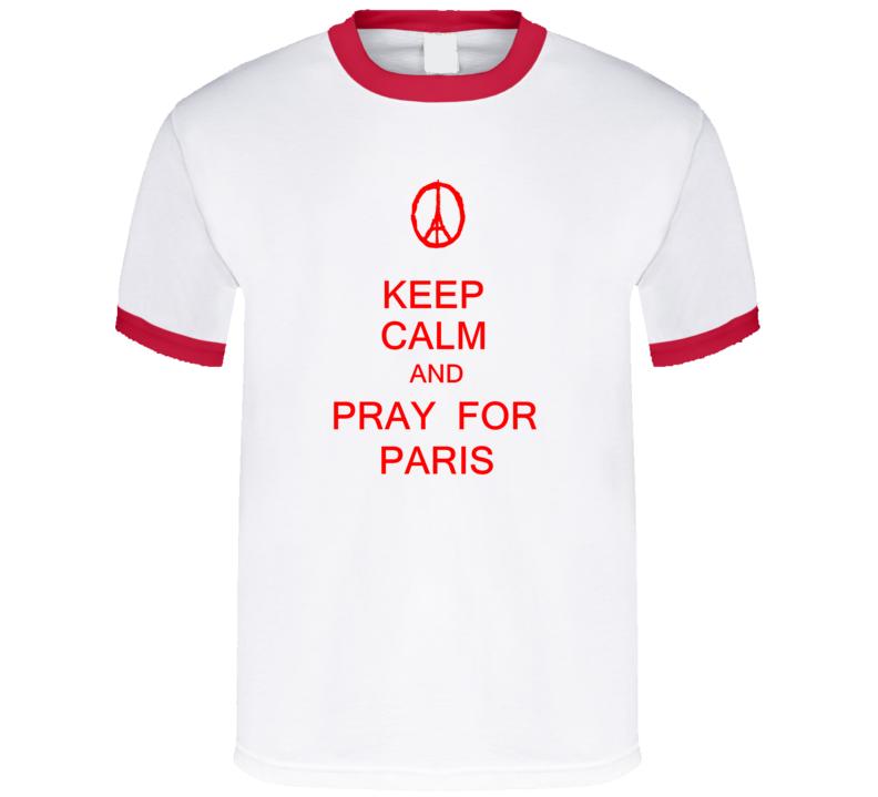 Keep Calm and Pray for Paris t-shirt #prayforparis shirts anti terrorism France Red