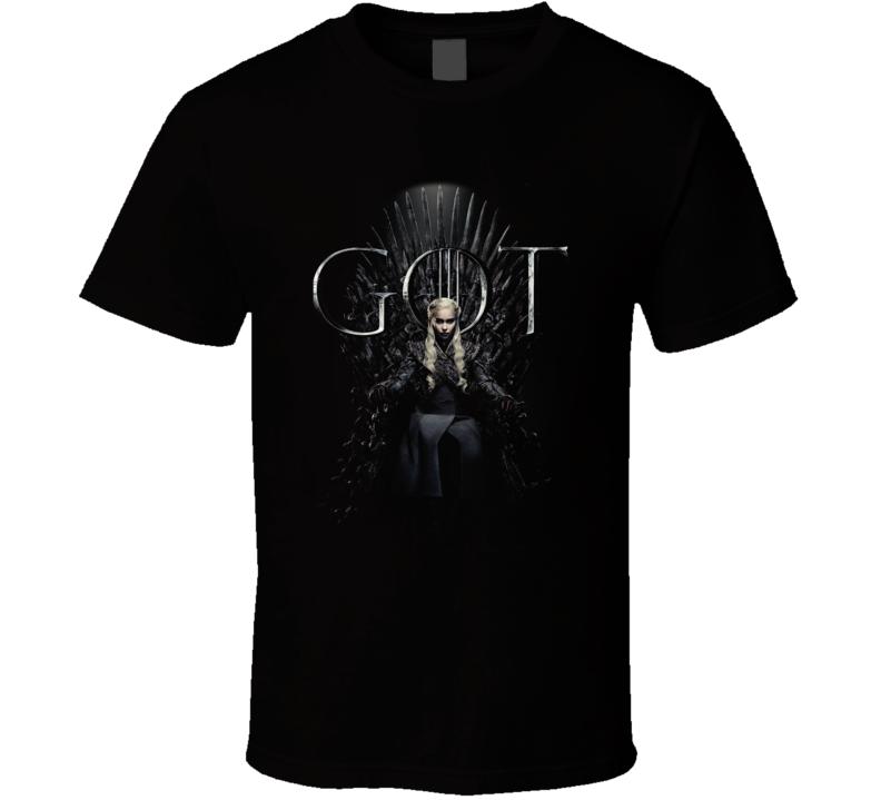 Daenerys Targaryen Sitting On The Iron Throne Game Of Thrones Got Season 8 Poster Fan Gift T Shirt