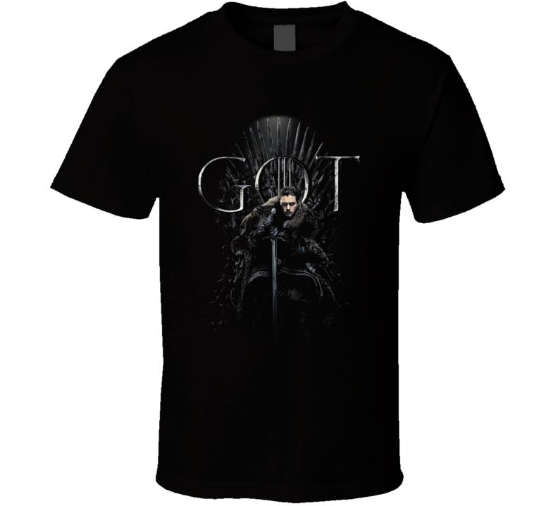 Jon Snow Sitting On The Iron Throne Game Of Thrones Got Season 8 Poster Fan Gift T Shirt
