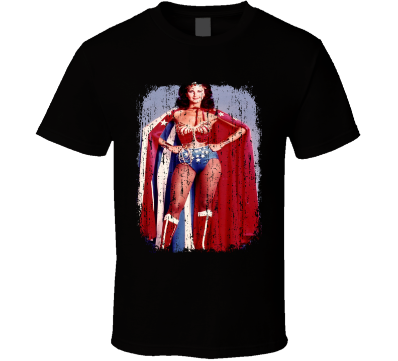 Lynda Carter 70s Celebrity Sexy Vintage Wonder Woman Worn Look T Shirt