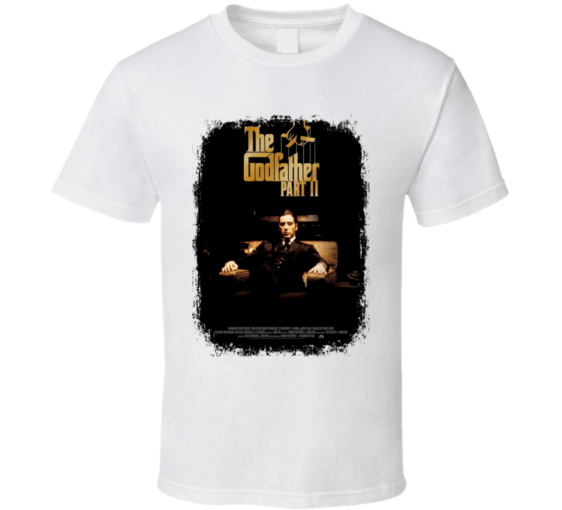 The Godfather Part II 70s Classic Crime Movie Poster Worn Look T Shirt