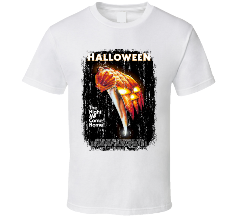 Halloween 70's Classic Horror Movie Poster Worn Look Cool T Shirt