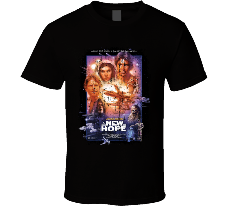 Star War A New Hope 70's Classic Movie Poster Worn Look Cool T Shirt