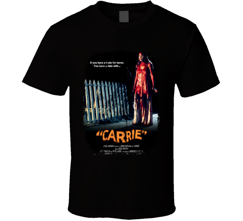 Carrie 70's Classic Horror Movie Poster Worn Look Cool T Shirt