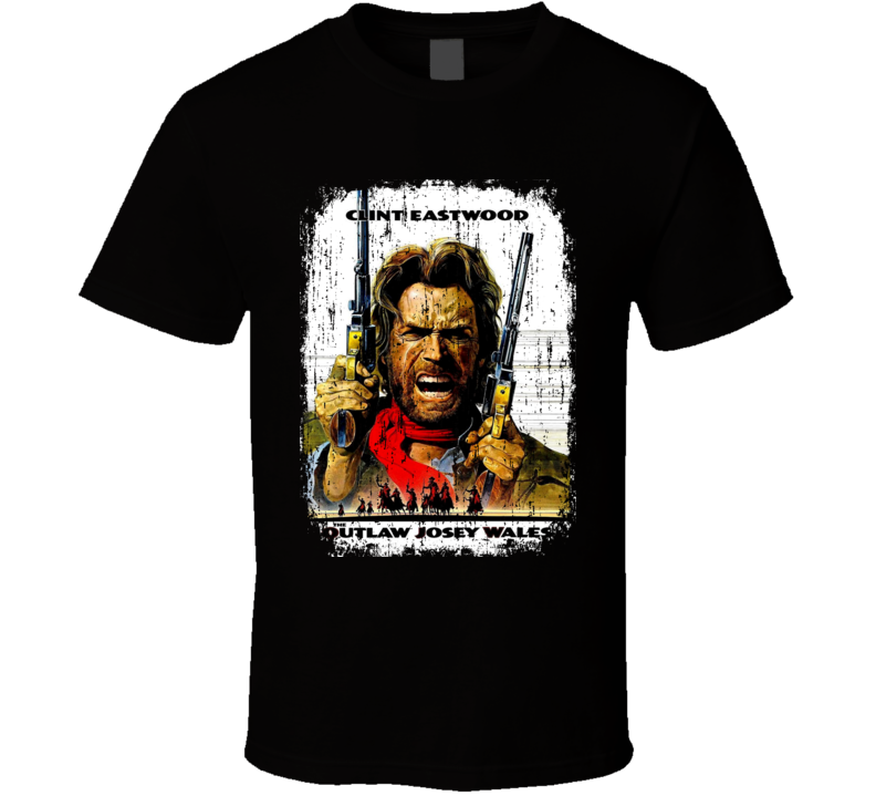 Outlaw Josey Wales 70's Classic Action Movie Poster Worn Look T Shirt