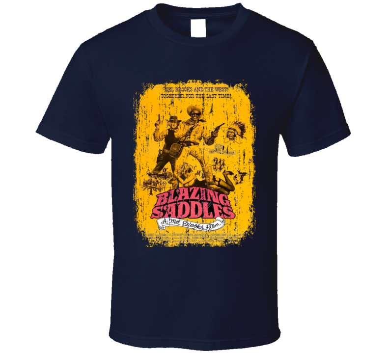 Blazing Saddles 70s Classic Comedy Movie Poster Worn Look Cool T Shirt