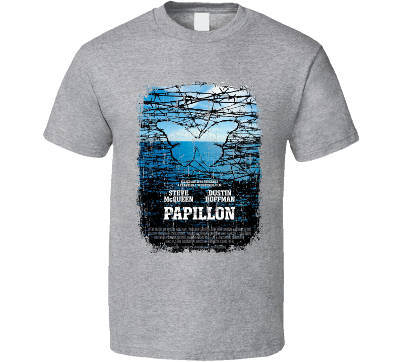 Papillon 70's Classic Crime Movie Poster Worn Look Cool T Shirt