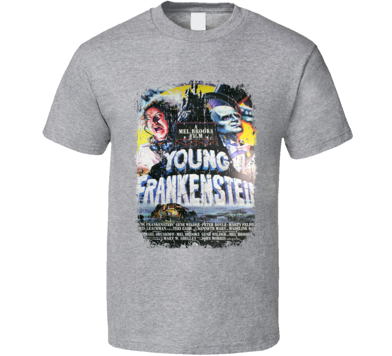 Young Frankenstein 70's Classic Horror Movie Poster Worn Look T Shirt