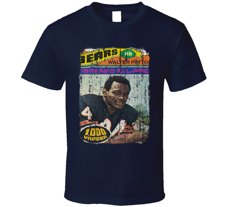1977 Walter Payton Vintage Football Trading Card Worn Look T Shirt