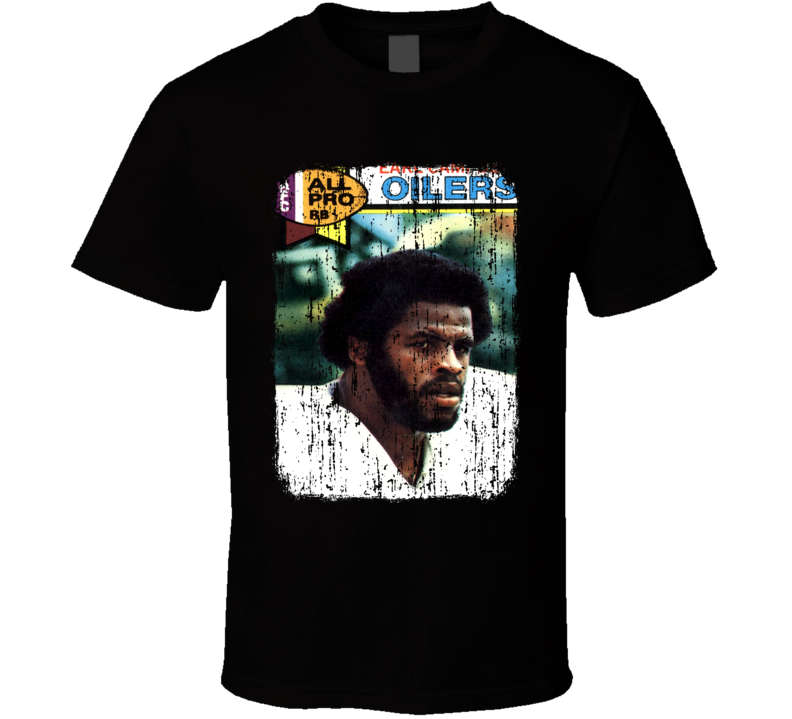 1979 Earl Campbell Vintage Football Trading Card Worn Look T Shirt