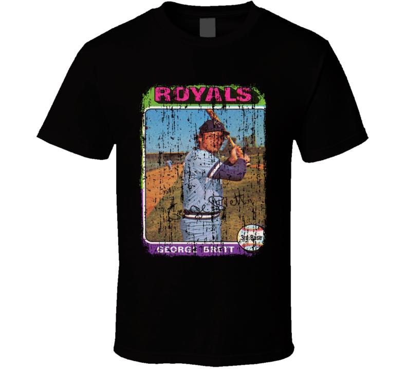 1975 George Brett Vintage Baseball Trading Card Worn Look Cool T Shirt