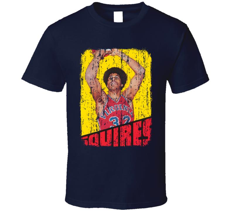 1972 Julius Erving Vintage Basketball Trading Card Worn Look T Shirt
