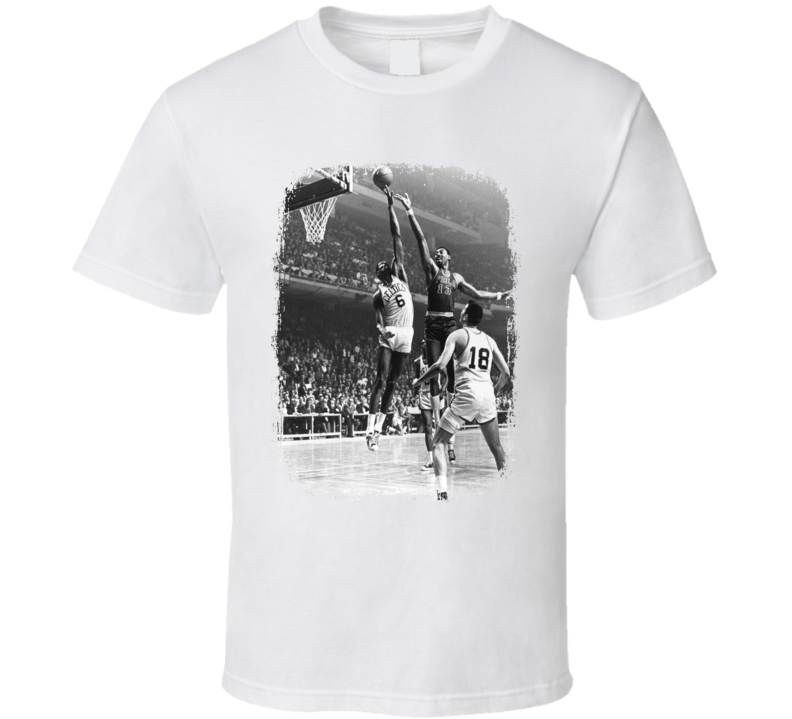 Bill Russell Basketball Celebrity Tribute Worn Look Sports T Shirt