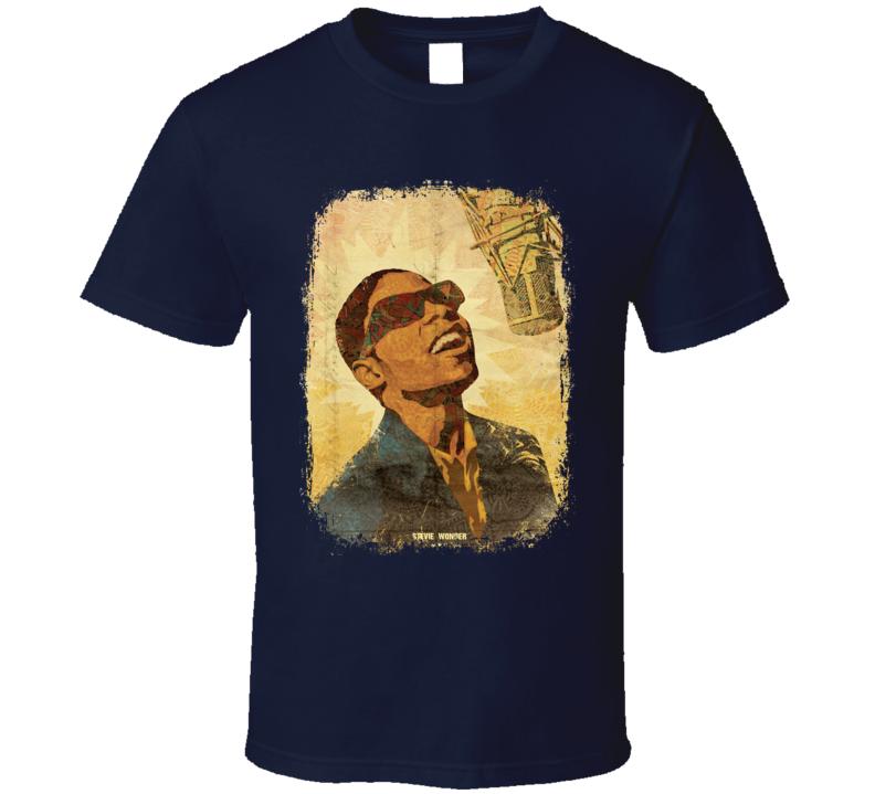 Stevie Wonder Soul Musician Tribute Poster Worn Look Music T Shirt