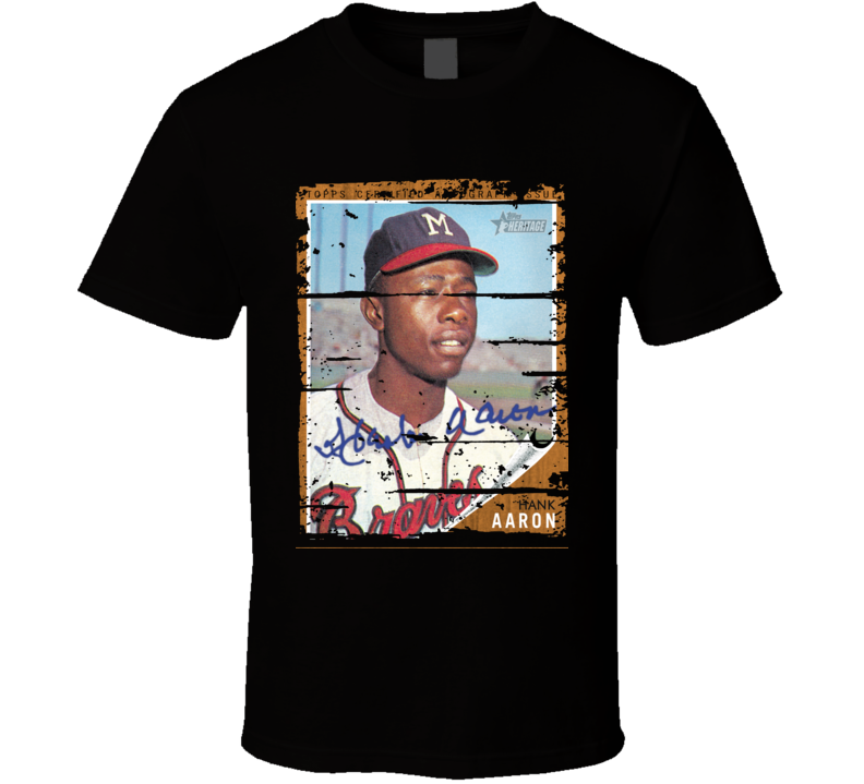 Hank Aaron Baseball Celebrity Magazine Cover Worn Look Sports T Shirt