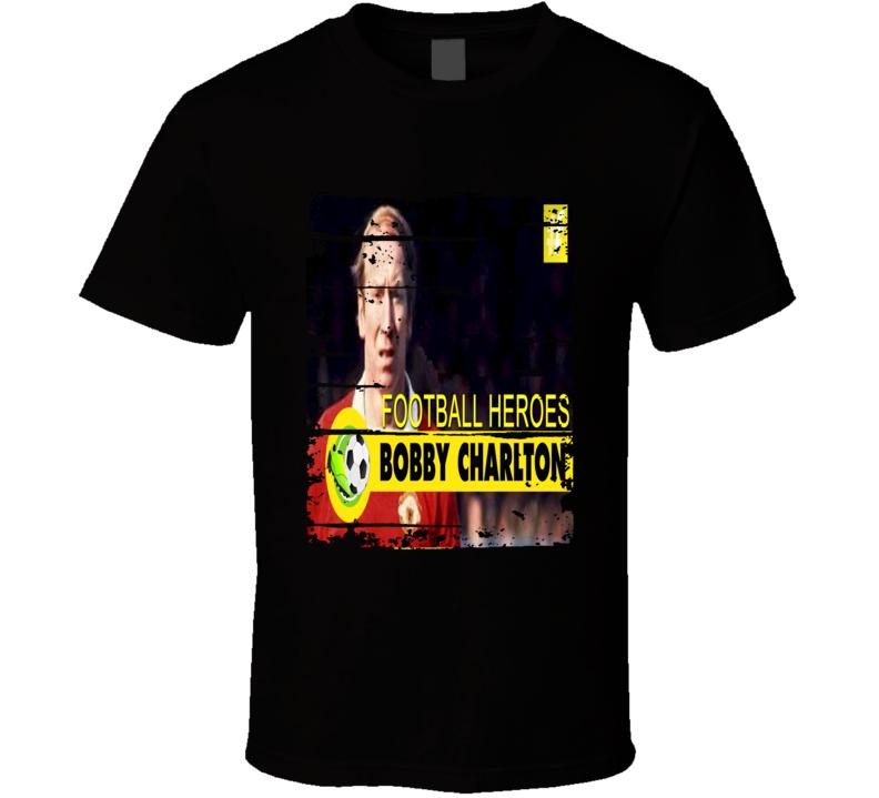 Sir Bobby Charlton Football Hero Celebrity Poster Worn Look T Shirt