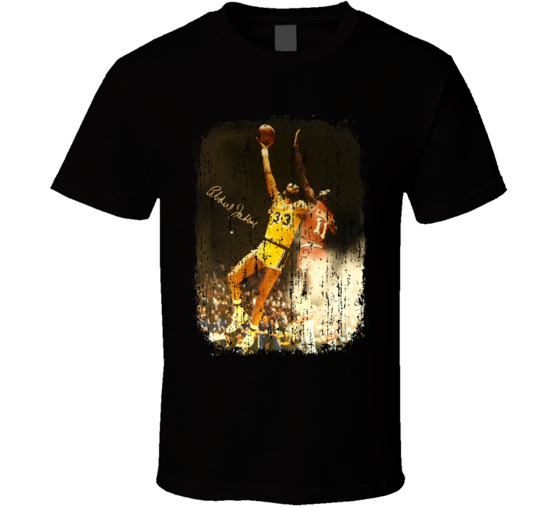 Kareem Abdul Jabbar Basketball Tribute Poster Worn Look Sports T Shirt