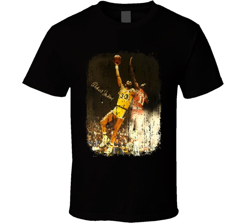 Kareem Abdul Jabbar Basketball Tribute Poster Worn Look Sports T Shirt