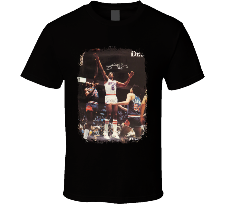 Julius Erving Basketball Tribute Poster Worn Look Sports T Shirt